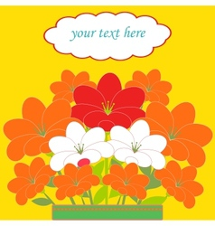 card with bouquet of flowers vector image