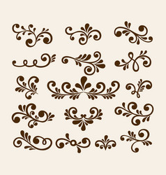 Floral elements for decoration set vector