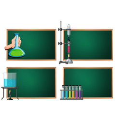 four banner template with science equipments vector image