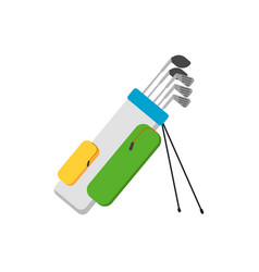 golf clubs set in bag isolated vector image
