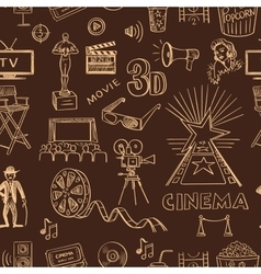 Hand drawn cinema pattern vector image