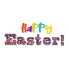 Happy easter festive lettering on white vector
