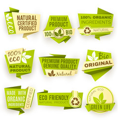 healthy organic farm fresh product stickers vector image
