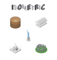 isometric attraction set of new york athens vector image vector image
