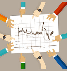 Line chart team work on paper looking to graph vector