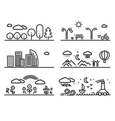 Linear Landscapes Set vector image