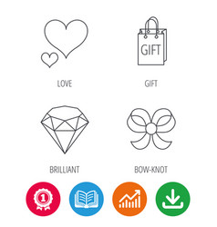Love heart gift bag and brilliant icons vector