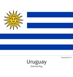 National flag of uruguay with correct proportions vector