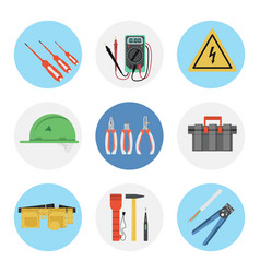 Nine color flat icon set - electrical tools vector