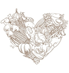 Outline hand drawn sketch of vegetable heart flat vector