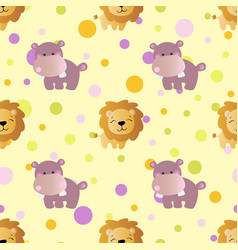 Pattern with cartoon cute toy baby behemoth lion vector