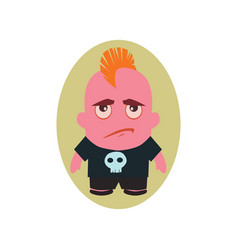 Sad and unhappy avatar of punk - little person vector
