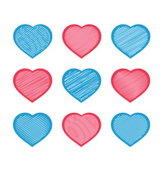 set of red and blue hearts isolated on white vector image
