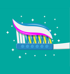 toothbrush toothpaste flat style vector image