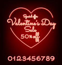 valentines day sale neon light web banner vector image vector image
