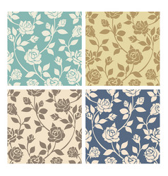 vintage rose flowers seamless patterns set vector image vector image