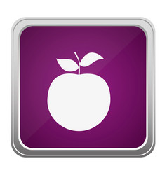 Violet square button relief with silhouette apple vector
