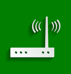 Wifi modem sign paper whitish icon with vector