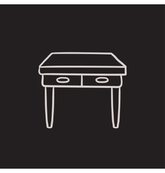 Table with drawers sketch icon vector