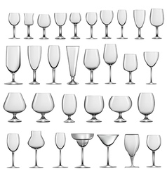 set of empty glass goblets and wine glasses vector image