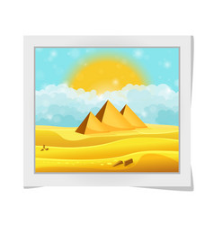 Cartoon photo frame with egyptian pyramids in the vector
