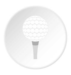 Golf ball with tee icon circle vector