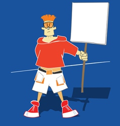 Guy with information board vector