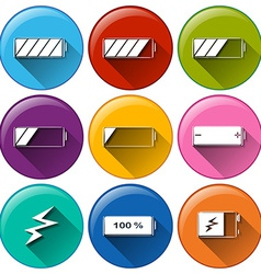 Round icons with batteries charging vector