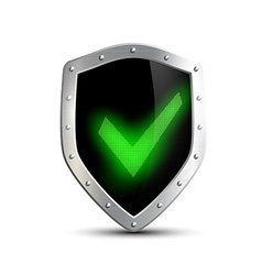 Metal shield with green tick isolated on white vector