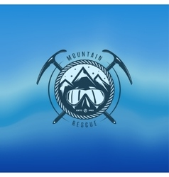 Mountain rescue vintage label vector