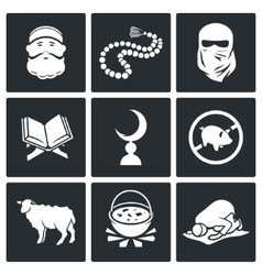 Set of islamic culture and faith icons vector