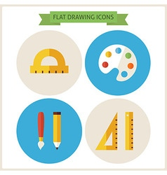 Flat drawing website icons set vector