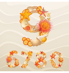 Numbers sea life font vector