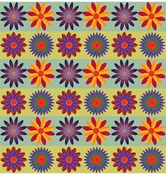 Red orange blue flowers pattern vector