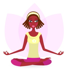 Ethnic female practicing yoga vector