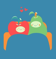Cozy fruit couple on sofa vector
