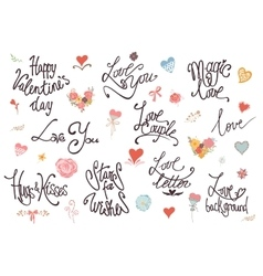 Valentine day love and wedding lettering vector