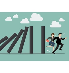 Business people run away from domino effect vector