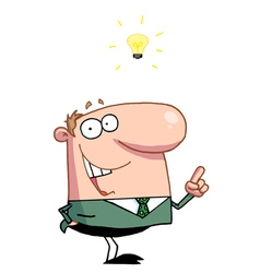 Creative thinking businessman in a green vector