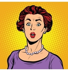 Surprised woman with a pearl necklace vector