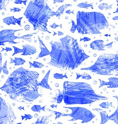 Violet watercolor seamless fish pattern vector