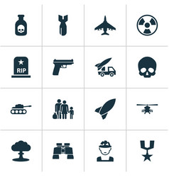 Army icons set collection of cranium rocket vector