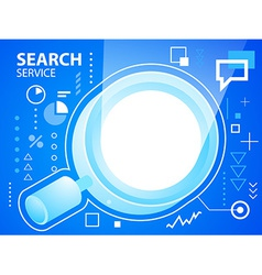 bright glass search on blue background for b vector image vector image
