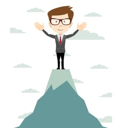 Businessman go to the top of mountain - vector image vector image