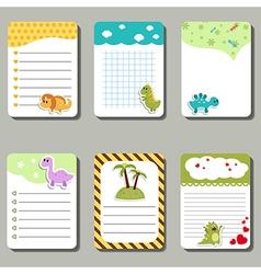 Cards with cartoon dinosaurs vector
