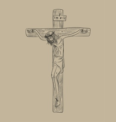 Christ on cross vector image vector image