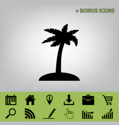 Coconut palm tree sign black icon at gray vector