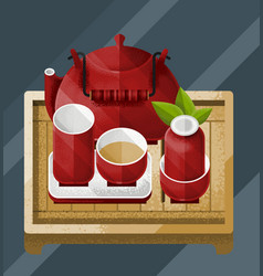 Colorful chinese tea table concept vector