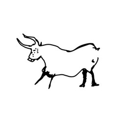 cow hand drawn doodle sketch with black lines vector image