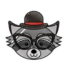 Cute scribble raccoon face cartoon vector